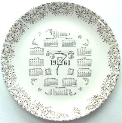 1961 collectible calendar plate - front