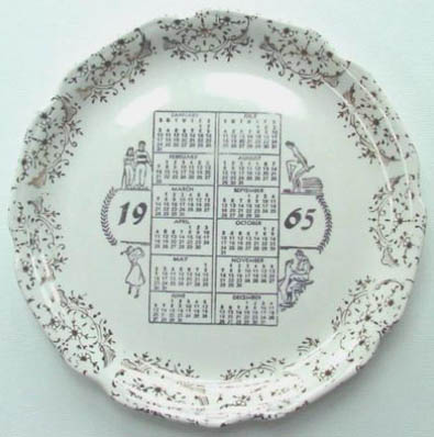 1965 collectible calendar plate - front