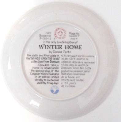 Winter Home - by David Pentz - Plate Back