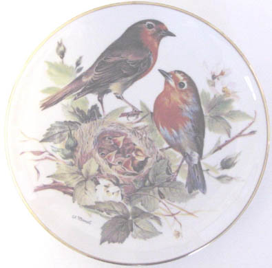 Rotkehlchen - European Robin - by Ursula Band - Plate Front